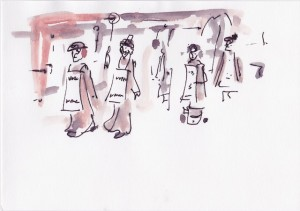 greenham drawings suffragettes with banners small