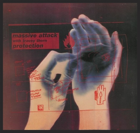 Image shows one hand touching the palm of another, with a diagram in red ink overlaid. It is the cover for the single Protection, but Massive Attack with Tracey Thorn.