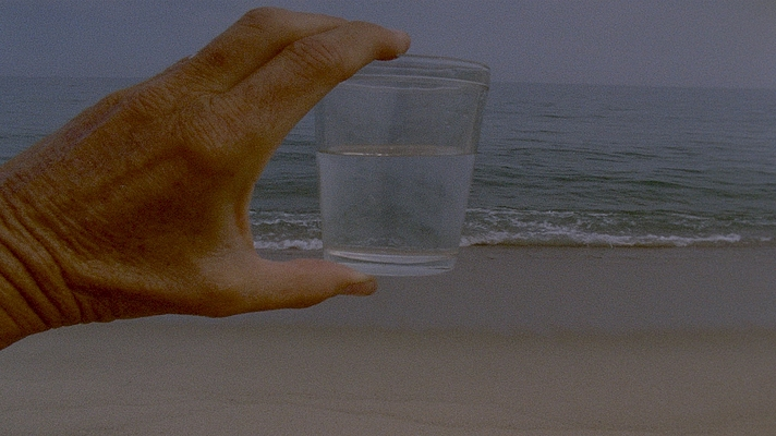 An image from A Month of Single Frames by Lynne Sachs. In the foreground, a white hand belonging to an older person holds up a small transparent tumbler of water between thumb and forefingers, so that it is in line with the ocean in the background, with the bottom of the glass paralleling the line between the incoming waves and the flat sandy beach, and the top of the glass parallel to the line between the blue-grey sea and the slightly paler blue-grey sky at the horizon.