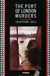 The image shows the cover of The Port of London Murders by Josephine Bell. The cover image features a window overlooking the river, with boats and cranes in the distance.