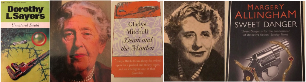 The image shows three book covers of Golden Age mystery novels, and two images of authors: from left to right, Unnatural Death by Dorothy L. Sayers; a colour photograph of Agatha Christie, a white woman with white hair; Death and the Maiden by Gladys Mitchell; a sepia newsprint photography of Ngaio Marsh, a white woman with grey hair; and Sweet Danger by Margery Allingham