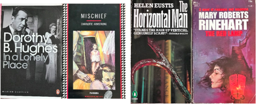 The image shows four book covers, from left to right: the Penguin Classics edition of Dorothy B Hughes' In a Lonely Place, which features a cover image from the film adaptation, showing Humphrey Bogart in the foreground. The other book cover is for Mischief by Charlotte Armstrong, which features a surreal image of a girl standing in a doorway with a lace curtain blowing, and a distorted face in the foreground. The third book cover is The Horizontal Man by Helen Eustis, which features the image of what looks like a hot poker in the foreground, with book spines behind it. The fourth book cover is for Mary Roberts Rinehart's The Red Lamp, which does indeed feature the image of a red streetlight in the lower foreground, the profile of a white woman with dark curly hair and strong dark eyebrows in the centre middle ground, and a rickety staircase in the background, leading to the upper right hand corner. The image background is in shades of purple.