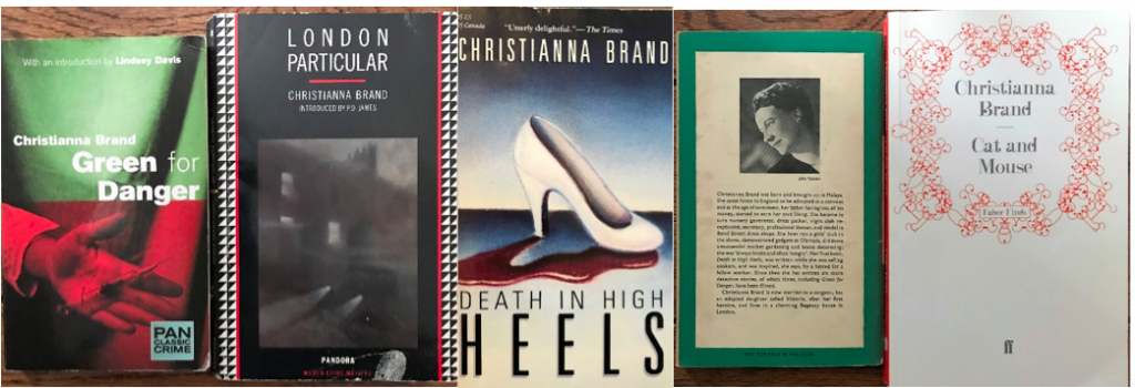 The image shows the covers of four books by Christianna Brand: Cat and Mouse, Green for Danger, London Particular and Death in High Heels, plus the back cover of a fifth book featuring a black-and-white photograph and biography of the author: the text is too small to read.