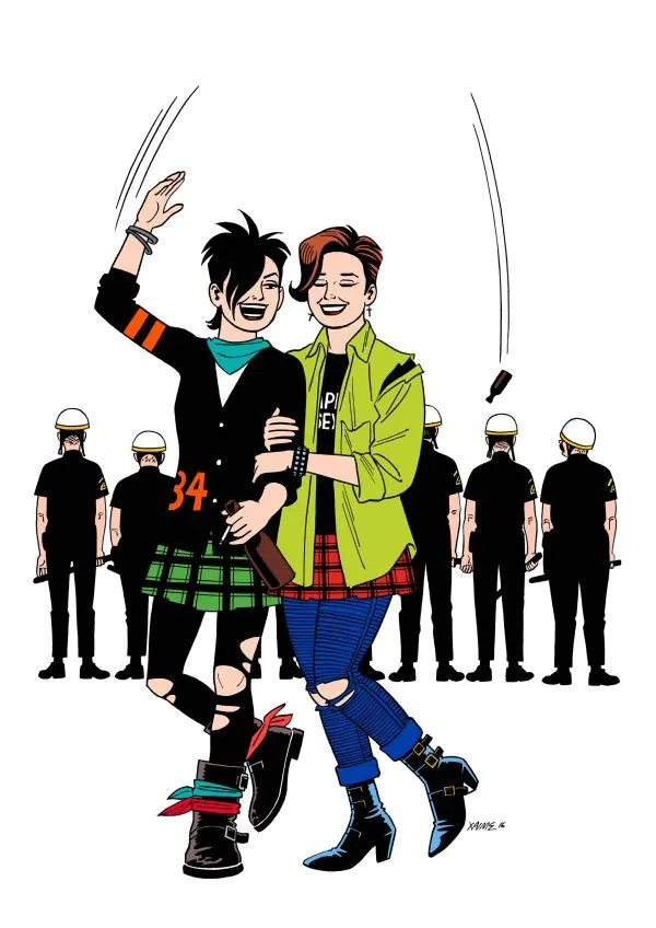 The image is a colour poster showing Hopey and Maggie, the two main characters from Jaime Hernandez' comic Love and Rockets. Hope is wearing a fitted black letter jacket with the number 34 in red, and a green and black plaid kilt over ripped black tights or leggings with large chunky black boots. She is arm in arm with Maggie, who is wearing a lime green shirt over an Ape Sex black T-shirt, with a red and black plaid kilt over blue jeans ripped at the knee, and black heeled ankle boots. Both women are smiling at each other as Maggie throws a bottle over her head in an arc, and it can be seen just above the head of one police officer standing in a line with their backs to us. Hopey has her trademark spiky asymmetrical short black hair, and Maggie's is cut into a short back and sides with a long right side lick that is dyed pink.