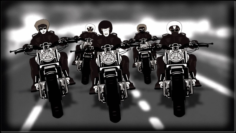 The image is a still from the film Rebel Dykes. It is an animated frame, in black and white, showing five women on motorbikes, in leathers and helmets, three in the front row and two behind them. They are riding on the motorway, the background behind them is blurred by their speed. These are the legendary Dykes on Bikes.