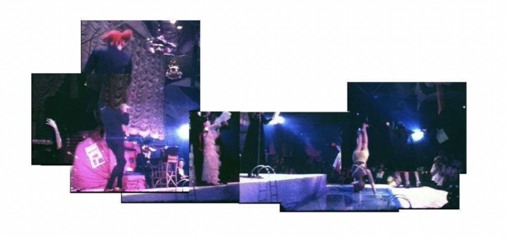 A composite photograph showing performers on the catwalk at Alternative Miss World 1975.